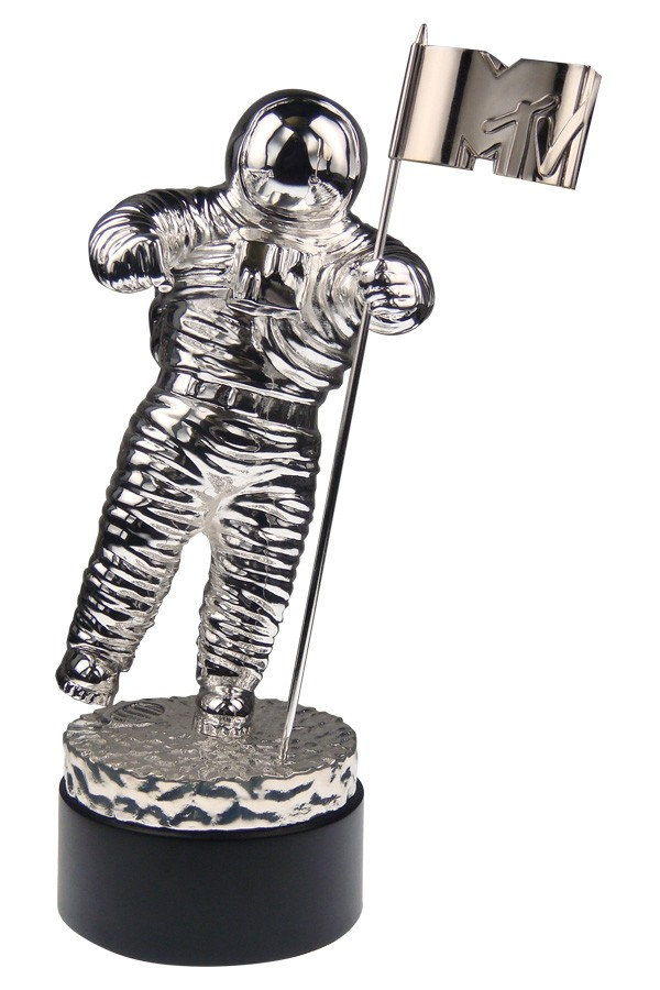 World Famous The Iconic MTV Video Music Awards Moonman Trophy custom award sculpture casting shiny chrome plated updated details to base and flag logo made by Society Awards