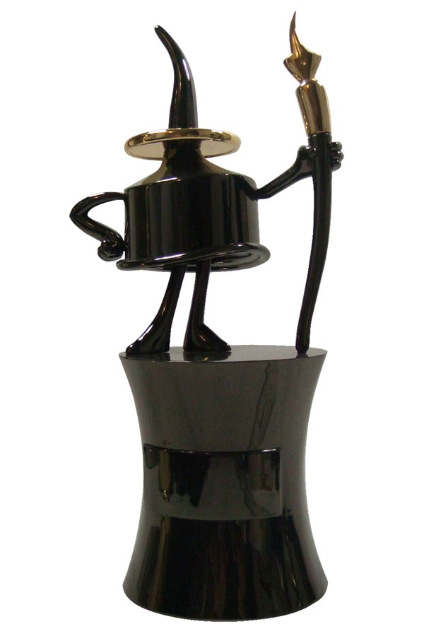 Comic-Con Inkpot Award for drawing - figure with personality in black nickel gunmetal with gold plating