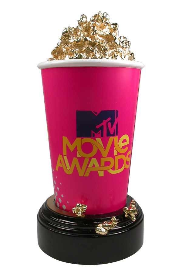 Internationally Recognized 24kt Gold Plated Popcorn Bucket Sculpture Trophy - the MTV Movie Awards - custom made with artisinal crafstmanship by Society Awards