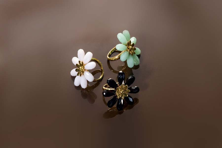 custom beads arranged in a flower pattern rings made for fashion brand Milly
