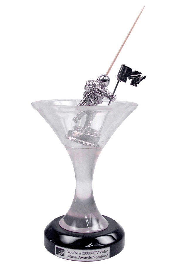 cute custom corporate award VMA moon man in a martini glass