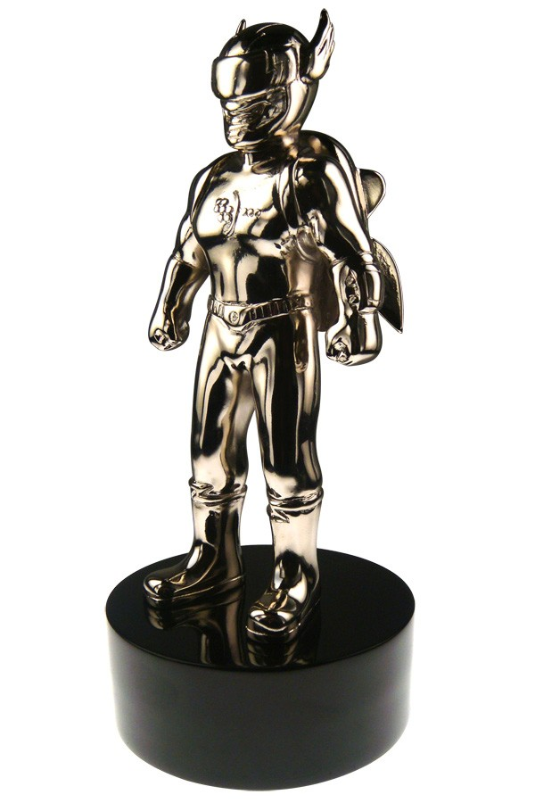 action figure trophy rocket man with logo corporate award
