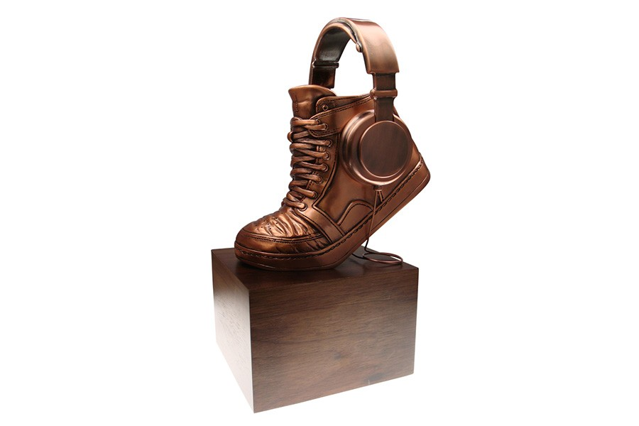 MTV Award custom sneaker with head phones and head phone wire on solid wood base bronze finish