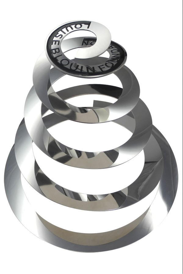 cut and curled abstract steel sculpture award