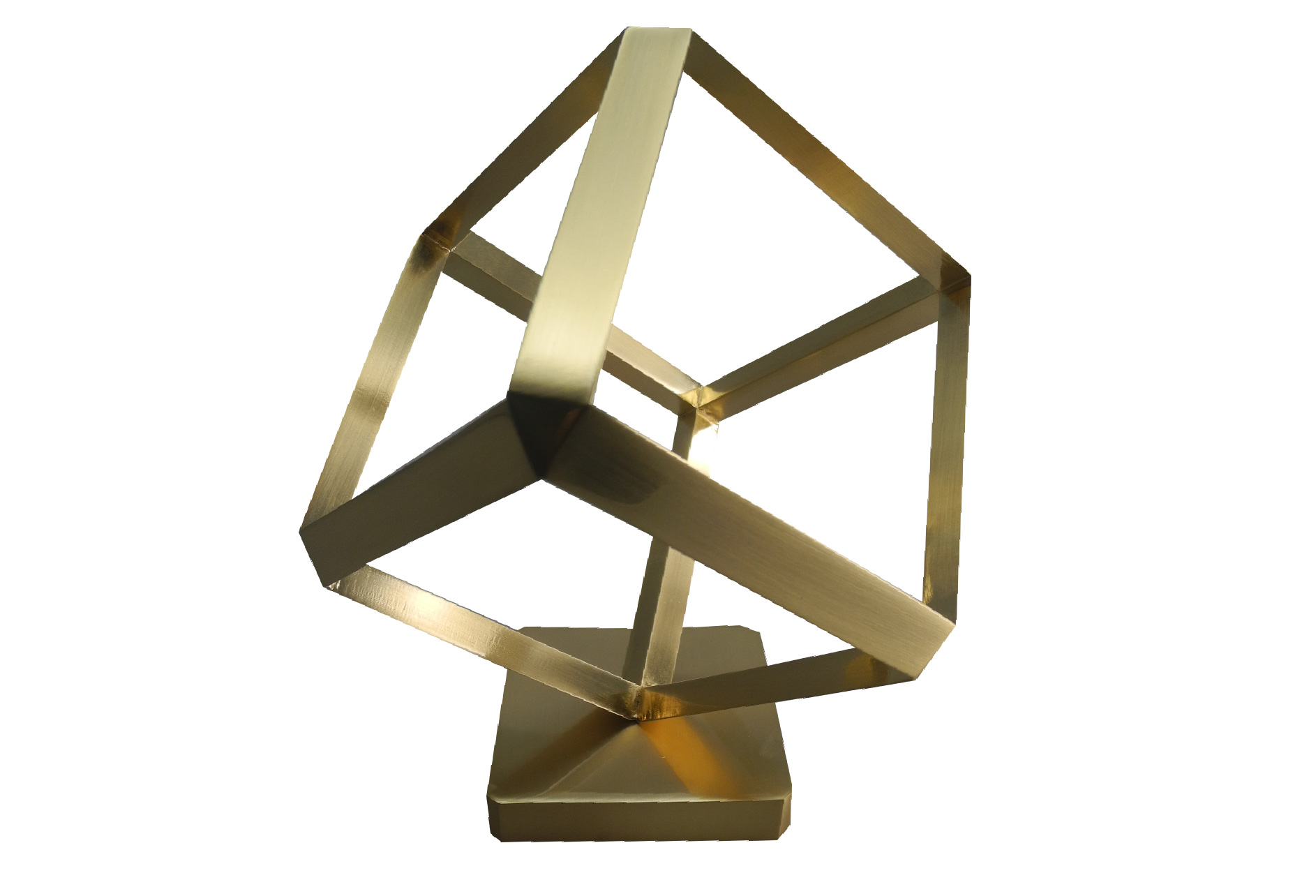 Cube outline award in aluminum.
