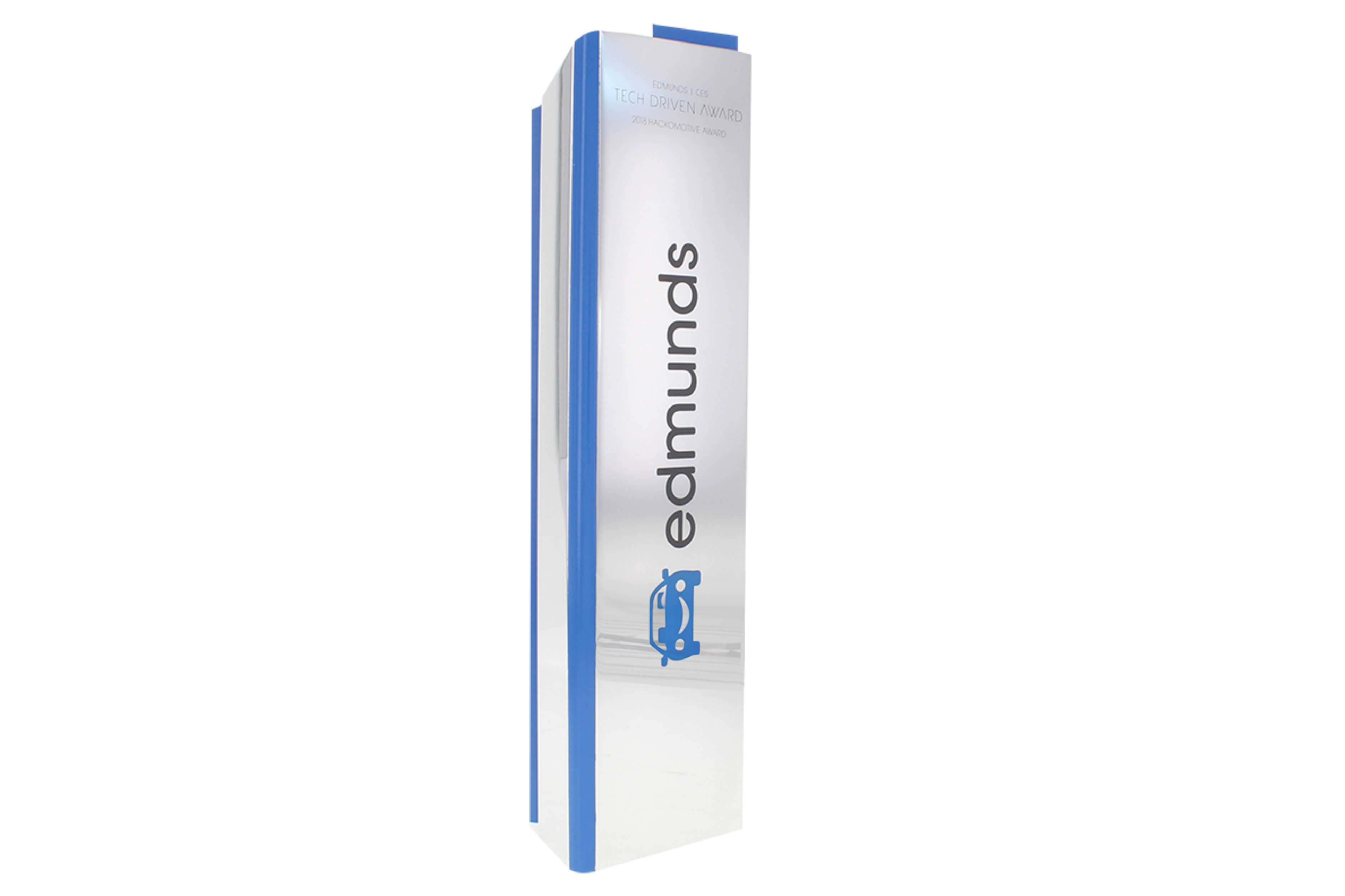 Aluminum column trophy with color printed logo and brand-matched color accent.