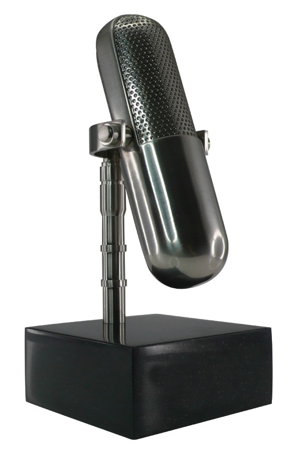 Custom silver microphone trophy on marble base
