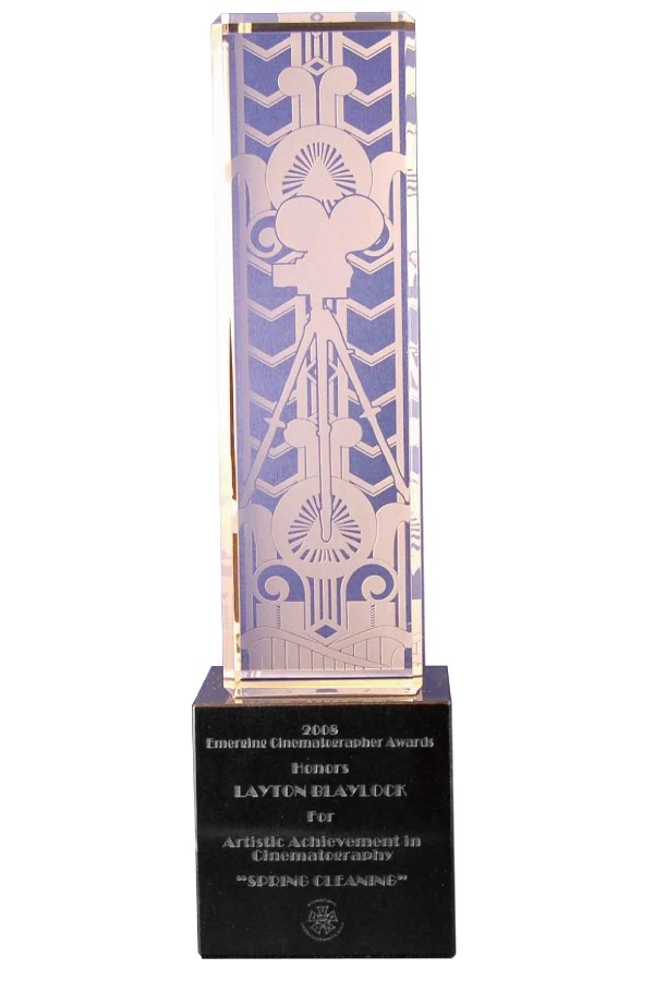 Etched custom crystal award on marble base art deco design by Society Awards