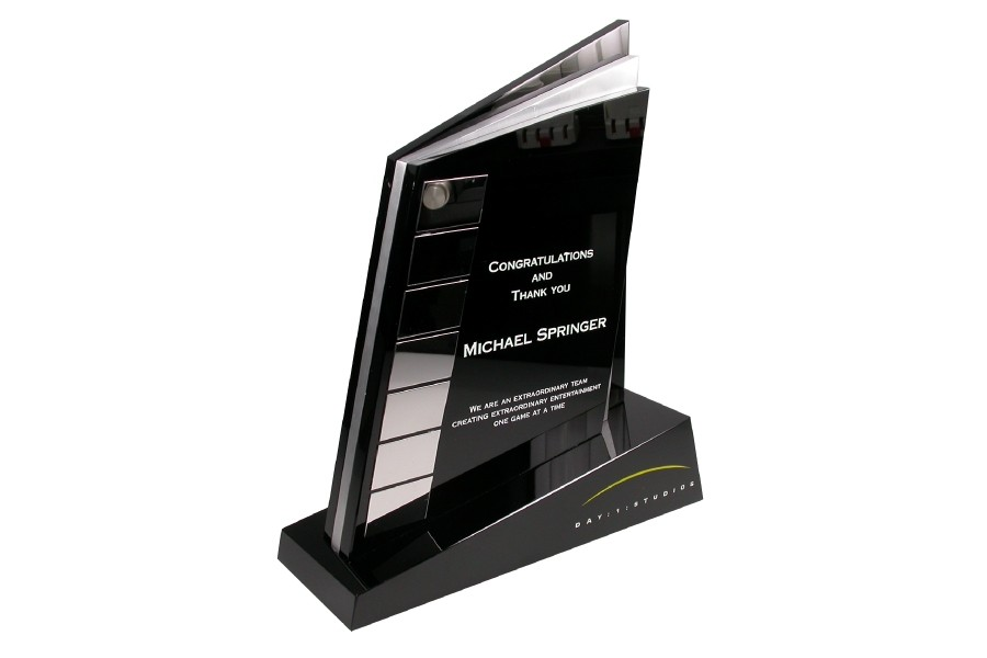 custom designed corporate award in black crystal and polished aluminum with etched logo and branded