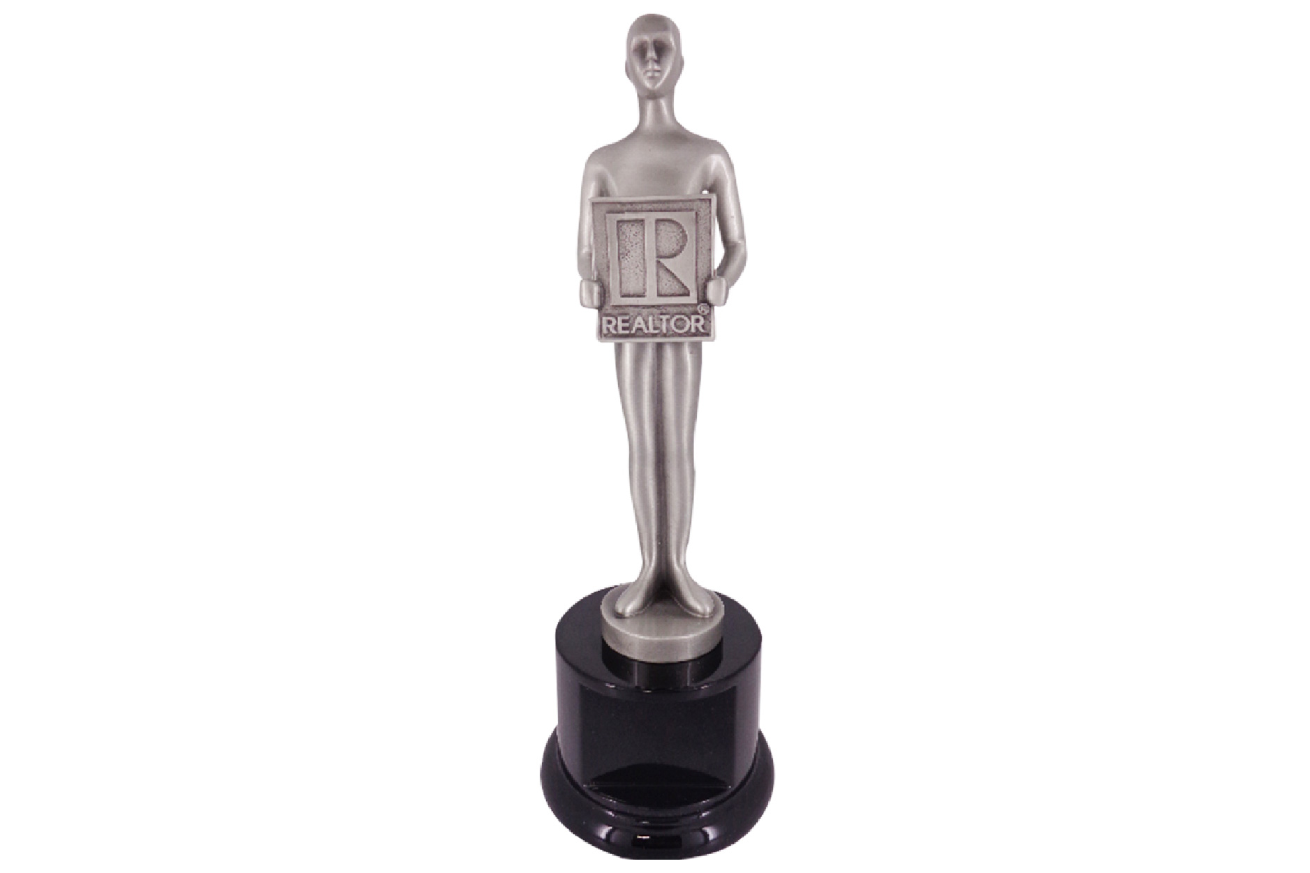 A proudly-posed figure custom made to recognize top agents. The form is crafted in cast metal with a brushed pewter finish.