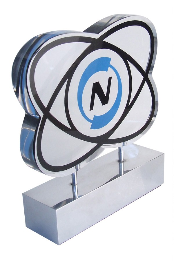 GDCA acrylic embedment with floating graphic on polished aluminum base