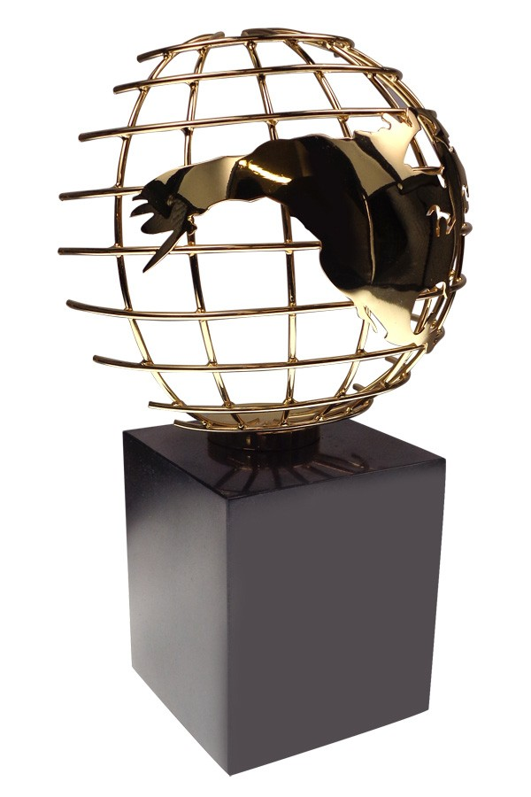 Gold plated wire frame globe on marble base