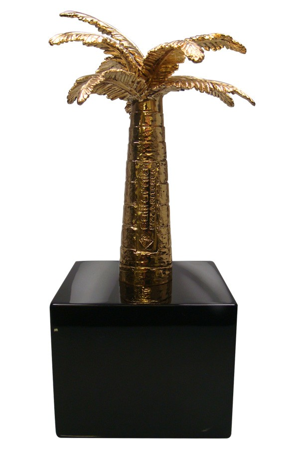 Custom corporate award designed with the iconic golden palm tree logo.