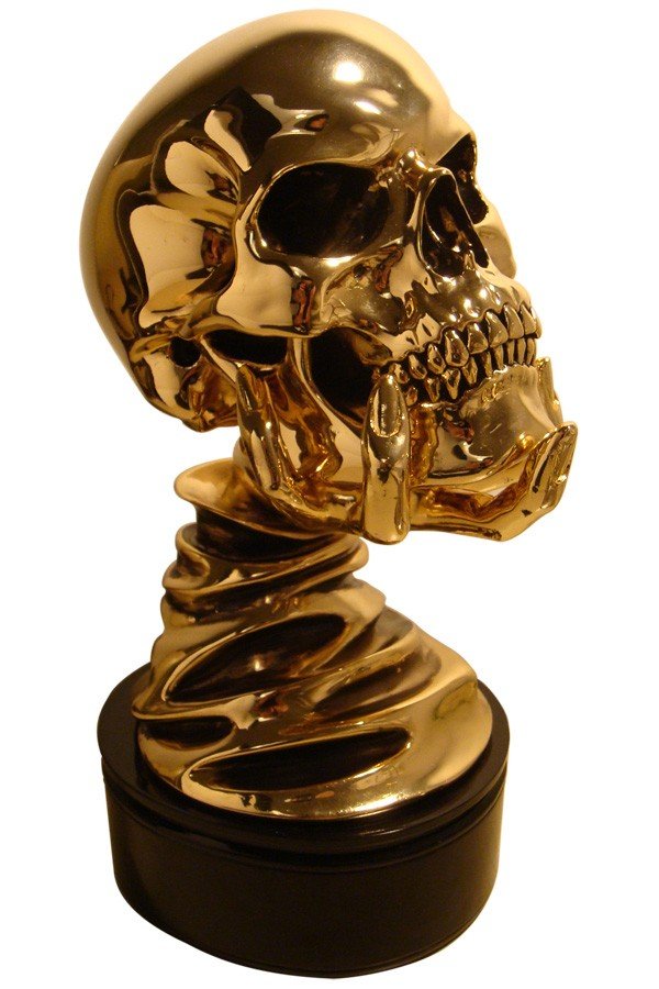 Stan Winston studios designed awesome skull on hand cast sculpture trophy for horror film festival