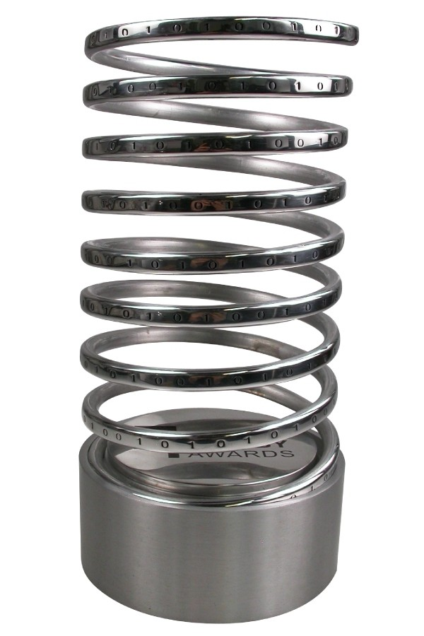Famous metal award spiral with fine etched detailing