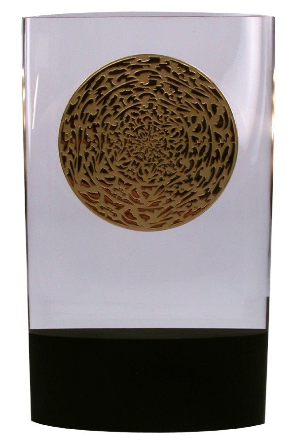 lucite acrylic embedment with custom medallion