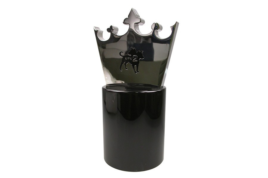 Machined crown trophy with etched logo plated in shiny chrome and mounted on black base