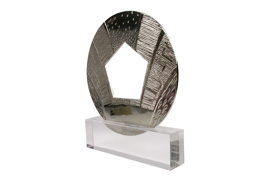 Famous packaging design awards. Patterned medallion is mounted in clear acrylic base.