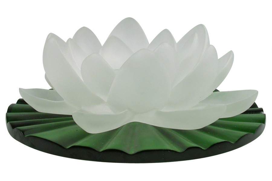 beautiful frosted glass pate de verre cast crystal flower lilly sculpture on green crystal leaf base