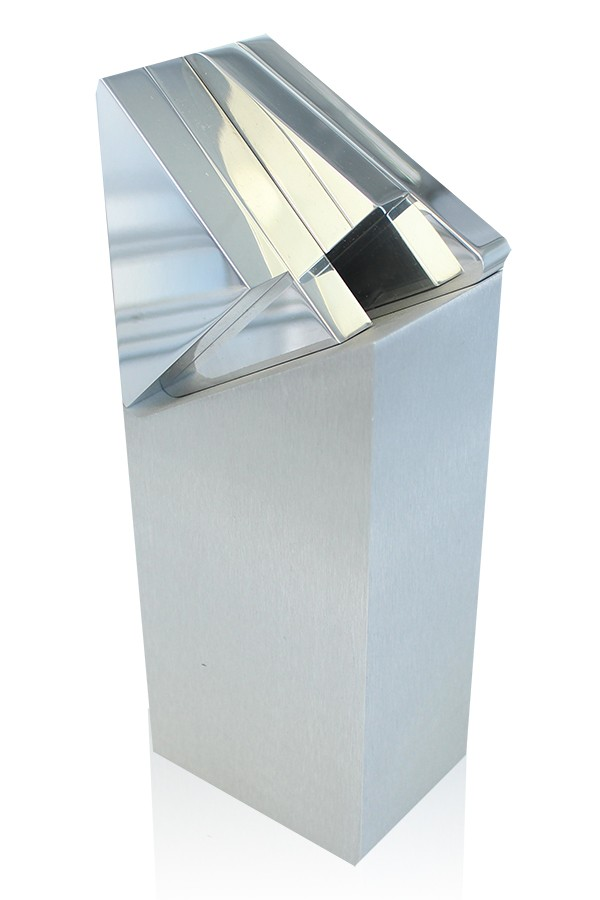 Aluminum award with brushed silver column and bright, polished logo detail on top.