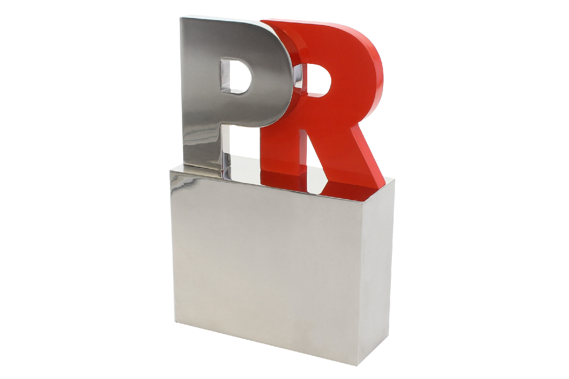 Cut-out metal letters award on aluminum base. Includes high-end enamel detailing.