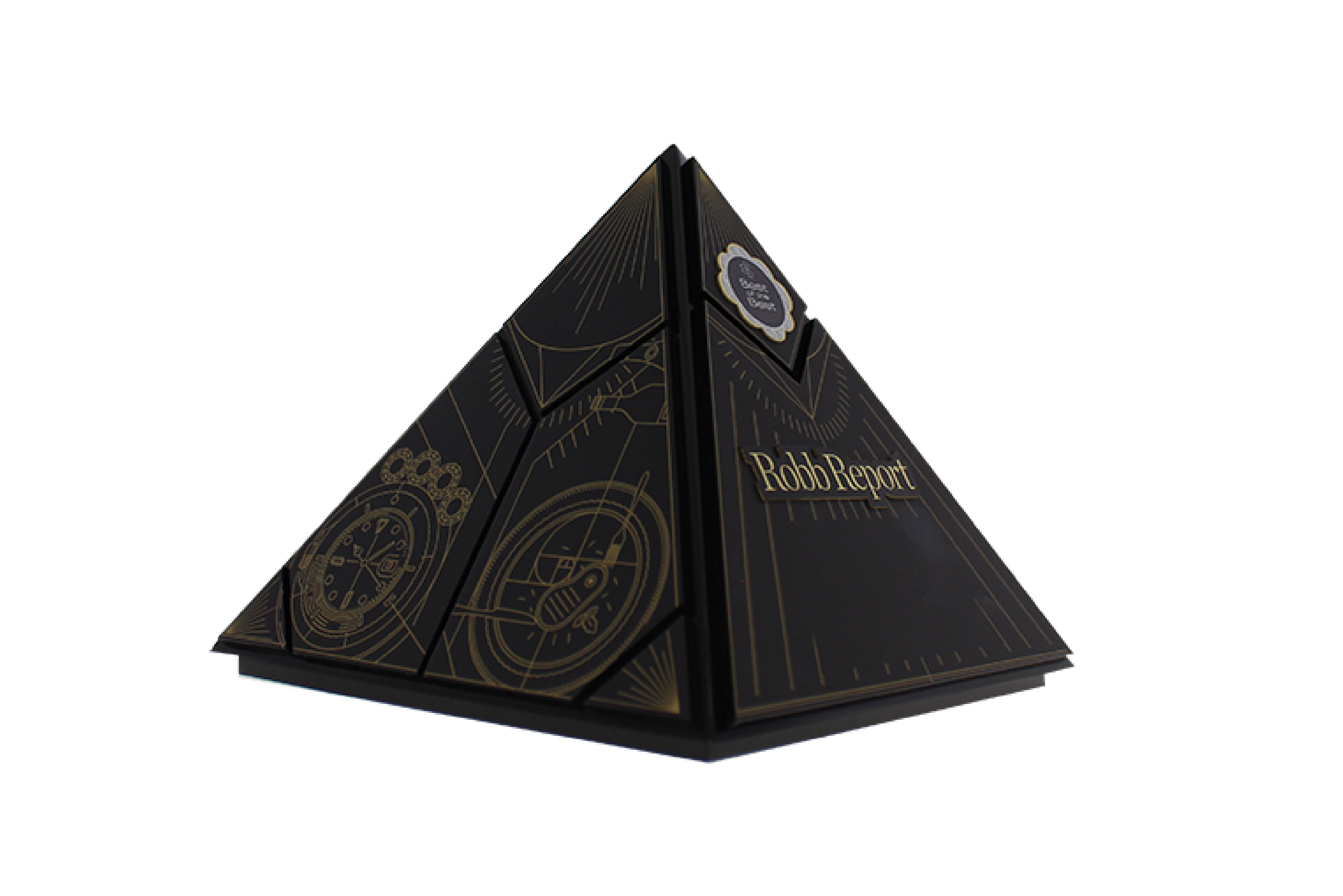 Pyramid-shaped trophy with custom illustrations screen-printed onto unique, interlocking panels.