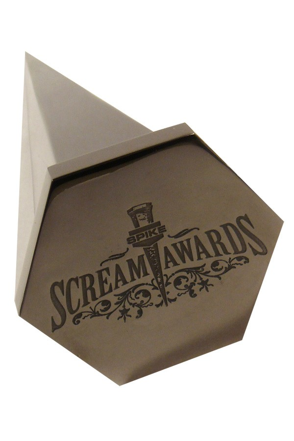 Famous televised award show the Scream Awards for horror. Trophy is a gunmetal plated spike shape