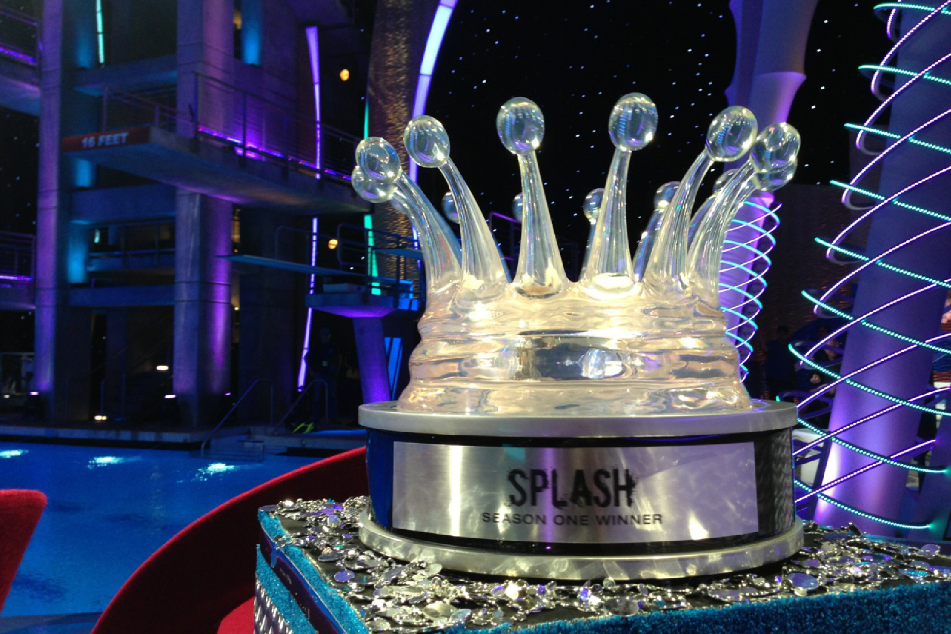 giant custom TV award cast clear splash sculpture