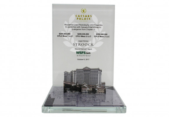Color printed deal toy with image of Las Vegas resort. Created for a large loan financing deal.