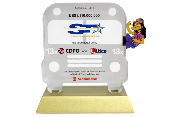School bus printed deal gift plaque with color printed logos and text mounted on gold base.
