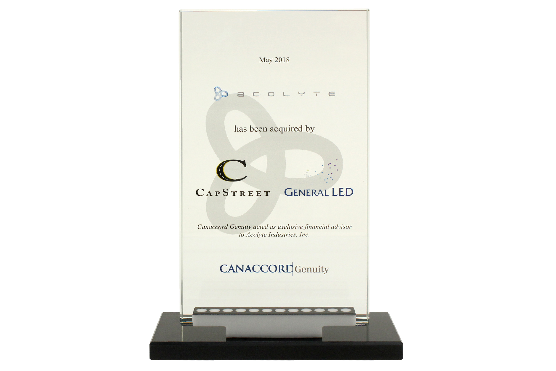 Custom deal toy with logos printed on crystal plaque and a model of LED product.