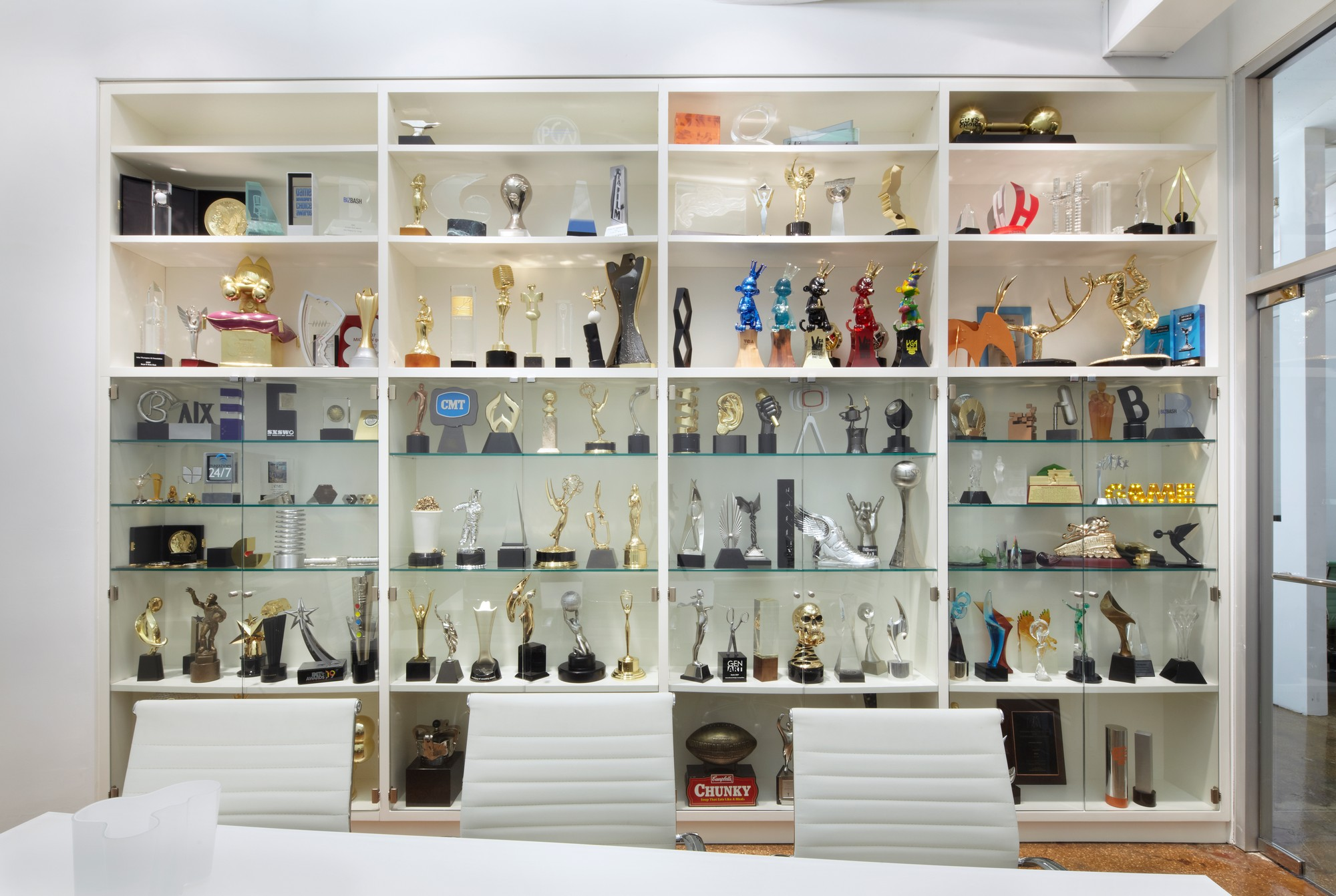 custom awards in glass display cabinets