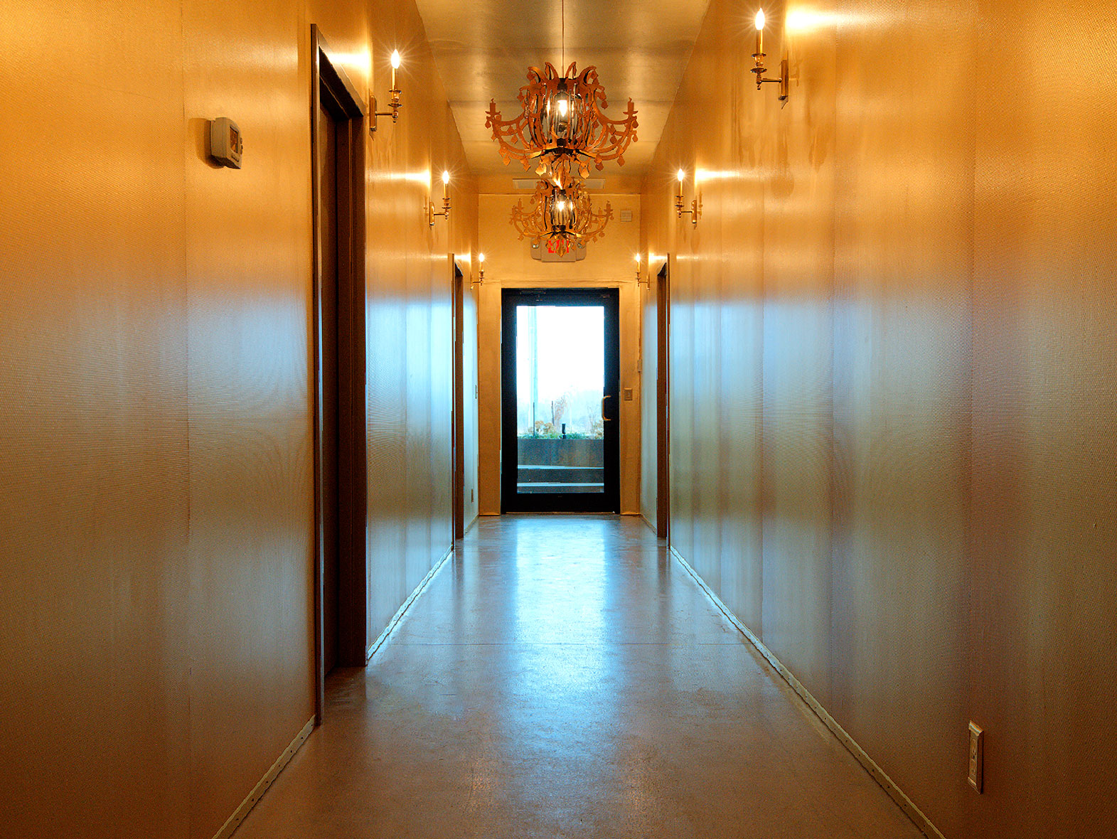 gold lined trophy hallway