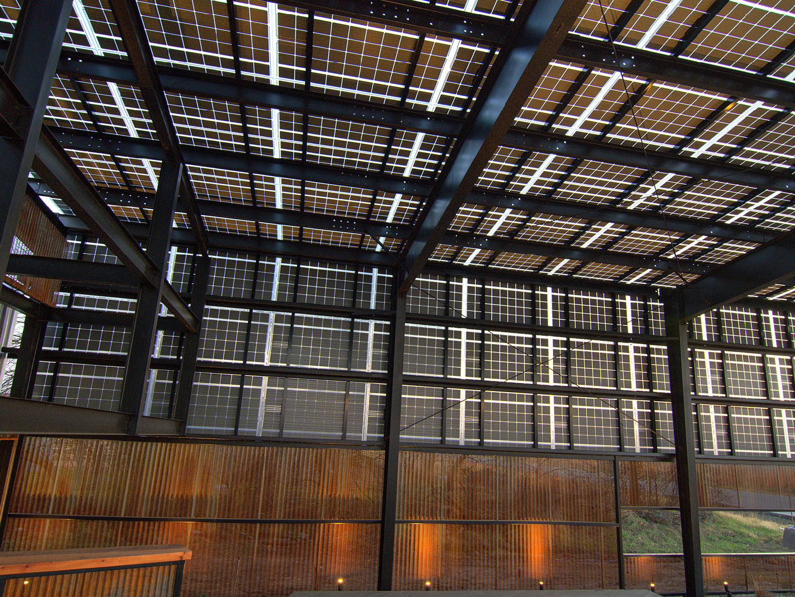 solar canopy that fully powers our production facility