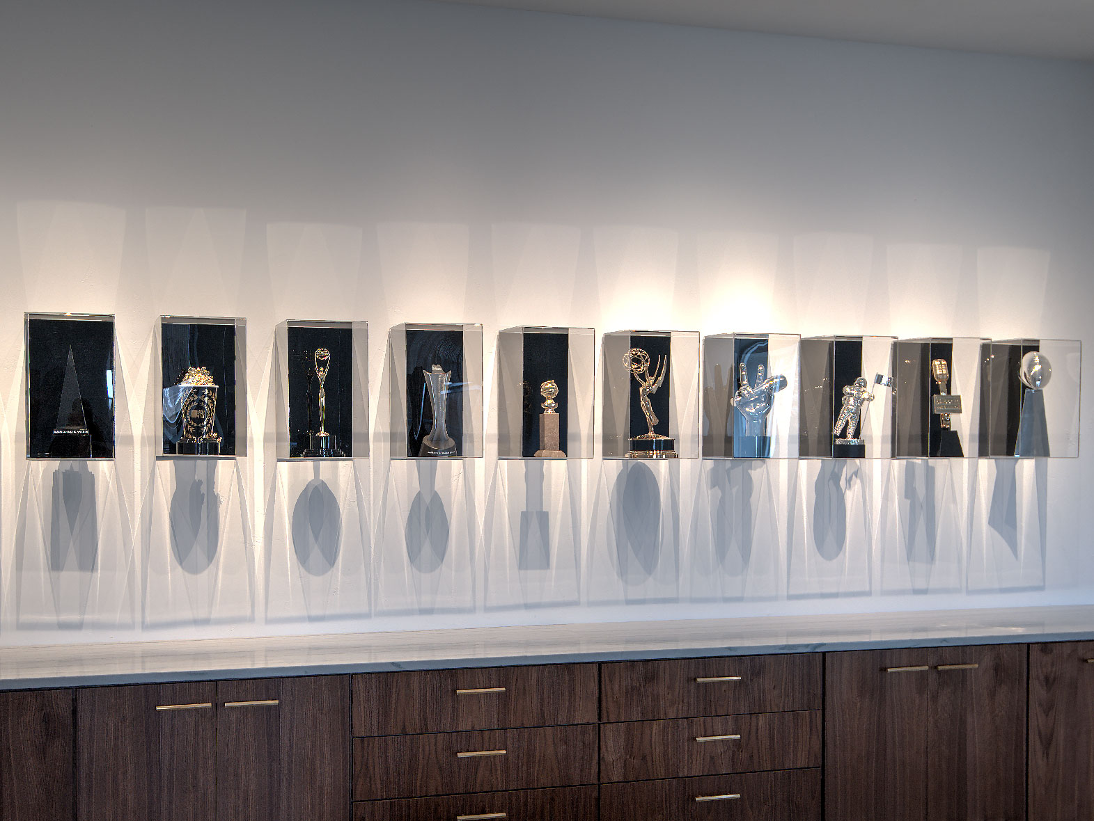 famous custom trophies by society awards in shadow boxes
