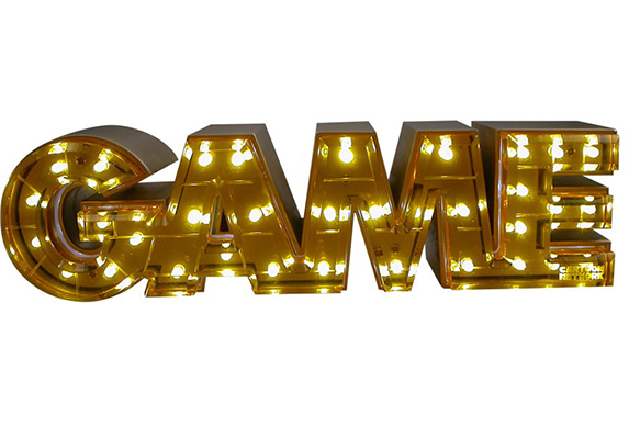 awesome golden GAME award lighted letters LED lights