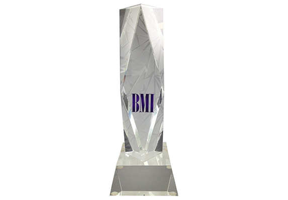 custom crystal award with etching and etched logo branded