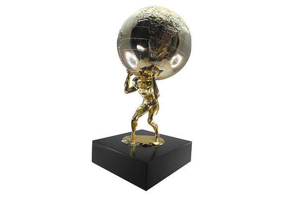 large size modern designed atlas figure with globe on his back