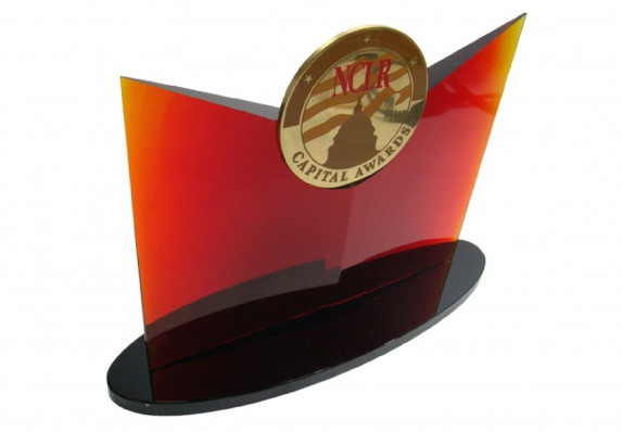 Custom corporate award with red crystal and medallion