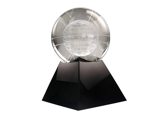 Crystal award with complex 3D etched globe on black crystal base