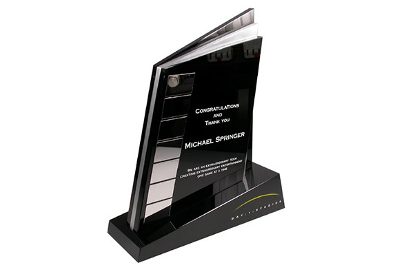 Custom corporate award designed in black crystal and polished aluminum with etched logo