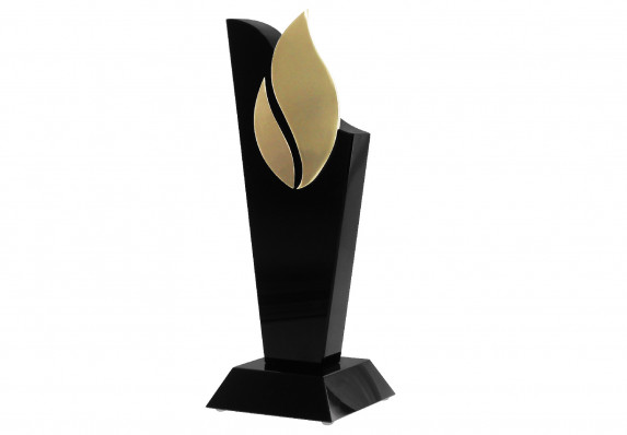 Custom crystal award in black with gold logo detail.