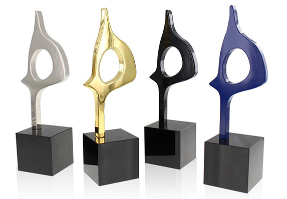 Custom Cut-out metal Award in four distinctive, high-end finishes.