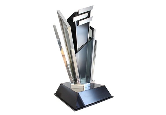 Large Metal and acrylic trophy honors the winner of a highly-competitive, televised gaming competition