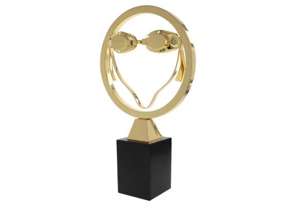 Custom metal award sculpture of a pair of swimming goggles in a ring, plated in gold and mounted on a black base.