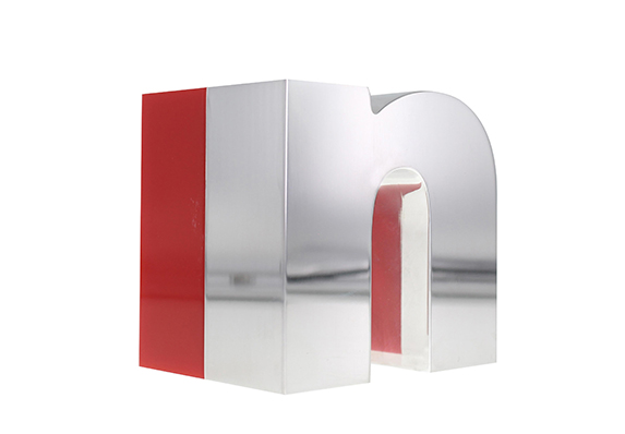 InStyle Award designed in gleaming polished aluminum and accented with bright red acrylic