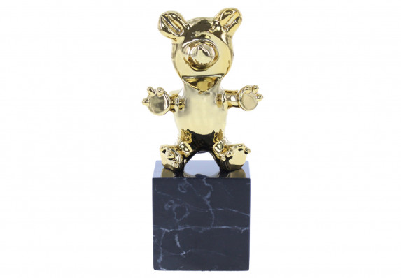 A custom cast metal bear trophy plated in 24k gold and hand polished to an impressive finish. The final awards sculpture is mounted atop a high-end black base.