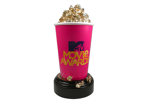 Internationally Recognized 24kt Gold Plated Popcorn Bucket Sculpture Trophy - the MTV Movie Awards - custom made with artisanal craftsmanship by Society Awards