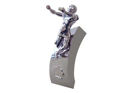 This luxury metal football trophy is precision cast to achieve its fine detailing and museum-quality finish.