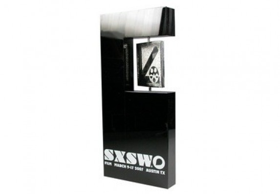 South by Southwest Film Festival Award with spinner medallion. Crafted in black crystal and metal.